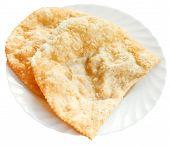 Cheburek Pie On White Plate Isolated