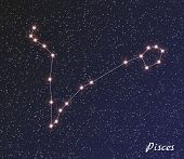 foto of pisces  - star constellation of pisces on dark sky vector - JPG