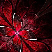 Symmetrical Flower Pattern In Stained-glass Window Style. Red Palette. Computer Generated Graphics.