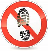 No Shoes Walking Sign