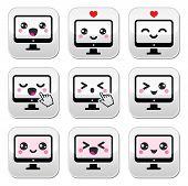 Japanese cute Kawaii character - computer buttons set