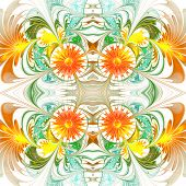 Flower Pattern. Orange And Green Palette. Fractal Design. Computer Generated Graphics.
