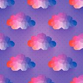 cloud seamless pattern. background made of triangles Square composition with geometric shapes. Weath