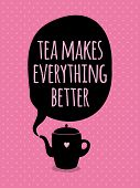 Greeting card. Lettering. Tea mekes everything better.