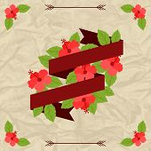 Tropical background with stylized hibiscus flowers and ribbon.