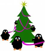 Penguins decorating a christmas tree