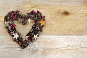 Heart Shaped Christmas Decoration Wooden Background