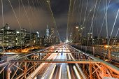 pic of brooklyn bridge  - Manhattan skyline from the Brooklyn Bridge at night