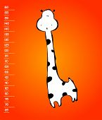 stock photo of measuring height  - Baby height measure with funny giraffe  - JPG