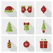 Flat Christmas icons