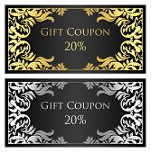 Black Gift Coupon With Gold And Silver Ornament
