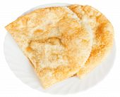 Cheburek Pastry On White Plate Isolated