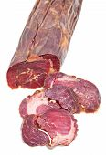 Sliced Horse Meat Sausage Kazy Close Up Isolated