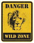Warning sign with lion head. Hand drawn. Vector illustration