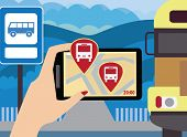 Using your smartphone, with modern maps and applications are where now rides the bus. Modern vector illustration, flat-concept