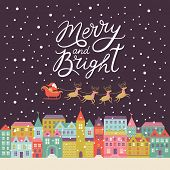 Merry and Bright lettering, Christmas background