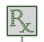 stock photo of marijuana leaf  - Driving Under the Influence of Marijuana A road highway sign with a prescription sign of marijuana leaf isolated on white - JPG