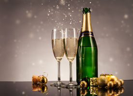 image of life events  - Champagne bottle with glasses - JPG
