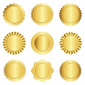 foto of rosettes  - Set of different gold approval seal stamp badge and rosette shapes isolated on white - JPG