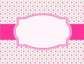 pic of politeness  - Cute pink and green polka dot design with pink ribbon and frame - JPG