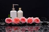 image of six-petaled  - Still life with pink five rose and massage oil on wet stones - JPG