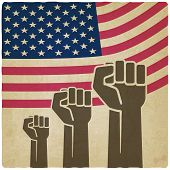 foto of fist  - fist independence symbol American flag old background  - JPG
