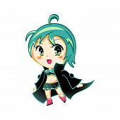 stock photo of chibi  - Cute anime chibi girl in space traveller coat - JPG