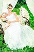 image of wedding arch  - Charming elegant bride under the wedding arch - JPG