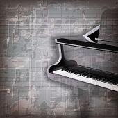 picture of grand piano  - abstract grunge gray music background with grand piano - JPG