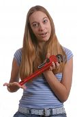 Teen Girl With Pipe Wrench