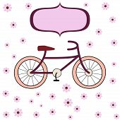picture of girly  - Vector illustration of girly style cycle and flowers with banner - JPG