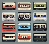 stock photo of magnetic tape  - Set of vector retro audio cassettes - JPG