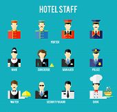 image of porter  - Set of hotel staff flat icon - JPG