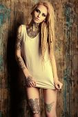 foto of dreadlocks  - Modern girl with blonde dreadlocks - JPG