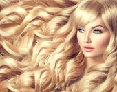 picture of wavy  - Beauty Blonde Woman Portrait - JPG