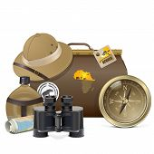 stock photo of safari hat  - Safari Accessories Concept with baggage - JPG