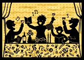 image of passover  - silhouette of a family celebrating Passover over background with matzo texture - JPG