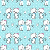 stock photo of enamored  - vector seamless pattern of hand drawn cats and hearts on polka dots background - JPG