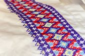 stock photo of national costume  - Detail Of Embroidery For The Ukrainian National Costume - JPG