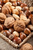stock photo of nutcracker  - Set of nuts with a nutcracker - JPG