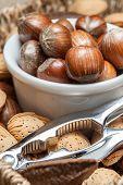 image of nutcracker  - Set of nuts with a nutcracker - JPG