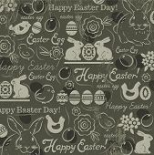 image of easter card  - Background with bunny easter eggs flower chicks hen and 