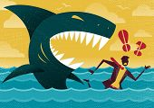 picture of great white shark  - Great illustration of Retro styled Businessman Abandoned and helpless at sea in Shark infested waters and about to be eaten alive by a giant Killer Great White Shark - JPG