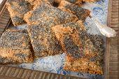 stock photo of crisps  - Crisp bread . Scandinavian staple food. Delicious healthy snack. ** Note: Shallow depth of field - JPG