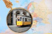 image of european  - Looking in on Lisbon Portugal with European map in the background - JPG