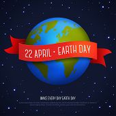 Постер, плакат: Vector illustration of earth globe with red ribbon and text Earth Day
