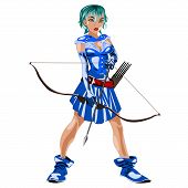 image of archer  - the Archer girl in a blue suit with a bow in his hand isolated on white background - JPG