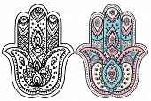 picture of hamsa  - Vector Indian hand drawn hamsa with ethnic ornaments - JPG