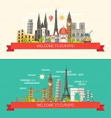 image of world-famous  - Vector illustration of flat design composition with famous european world landmarks icons - JPG