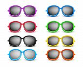 foto of protective eyewear  - Set of Realistic Colorful Unisex Modern Stylish Elegant Sunglasses For Summer Seasons as an Eye Protection - JPG